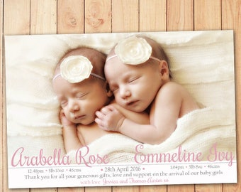 Simple and Sweet Birth Announcement - Twins