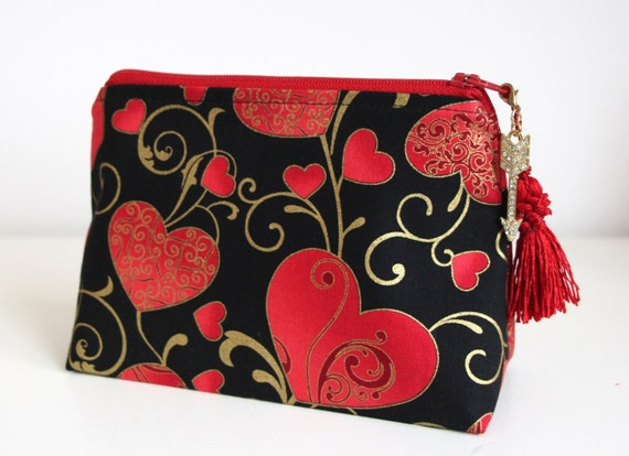 Hearts Cosmetic Case Zipper Pouch