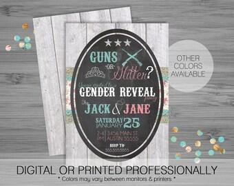 Guns or Glitter Gender Reveal Party Invitation - Custom - Printable