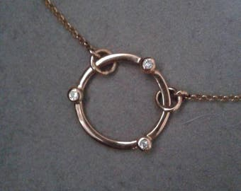14Kt Yellow Gold Karma Circle Diamond Necklace, April Birthstone