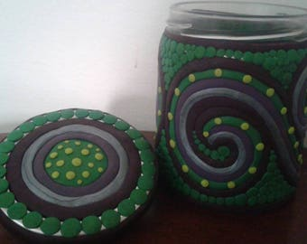 Colorful Green & Purple Swirl Polymer Clay Upcycled Jar