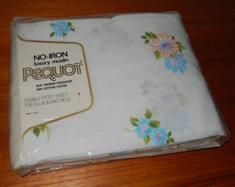 Brand New Vintage Pequot Brand Fitted Sheet for a Double Bed