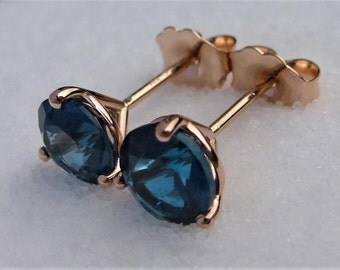 Genuine London Blue Topaz Martini Earrings In Solid 14K Pink Gold W/Push backing