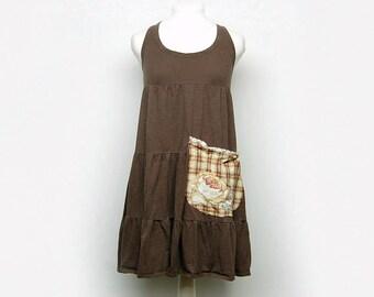 Small Boho Shabby Chic Cotton Tunic Dress, Funky Artsy Handmade Long Tunic, Eco Friendly Upcycled Women's Clothing by Primitive Fringe