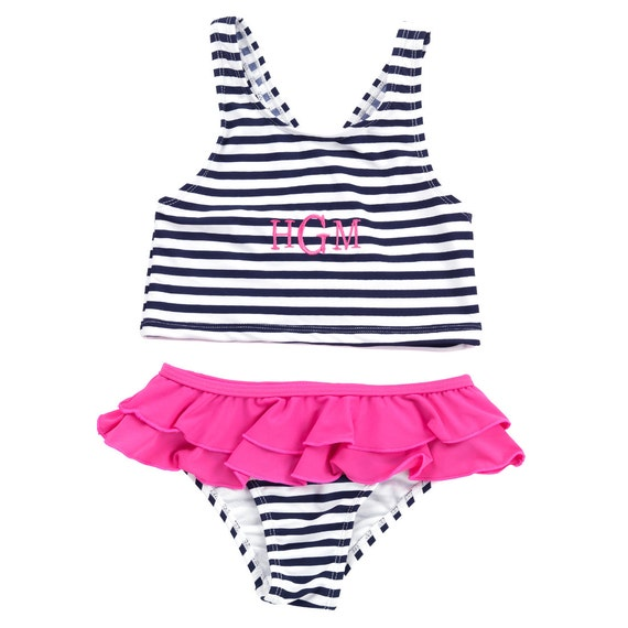 Prep stripe girls swim suit monogrammed bathing suit girls bathing suit toddler bathing suit gift for her girls bathing suit swim suit
