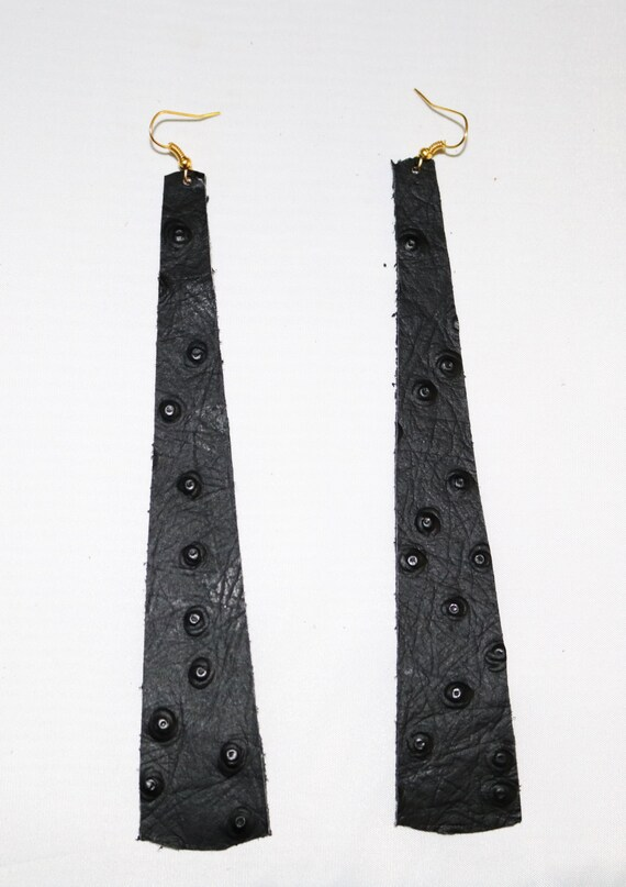 Long strip leather earrings - Lightweight leather earrings - Dangle Earrings - Boho Earrings - Drop earrings - Black ostrich print leather