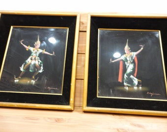 Pair of Siam Dancer Paintings
