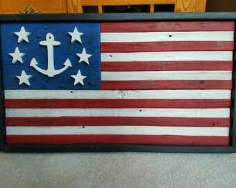 Nautical Primitive American Flag