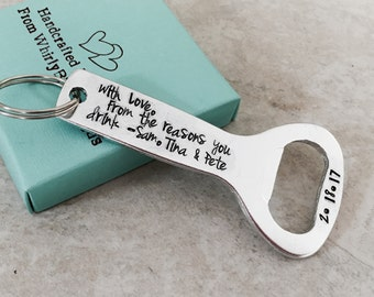 with love from the reasons you drink bottle opener personalized bottle opener custom beer bottle opener fathers day gift dad gift keychain