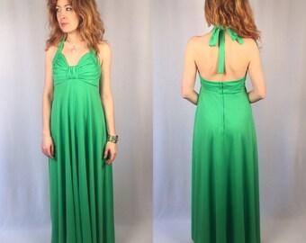 Vintage 1970's green maxi dress halter gown