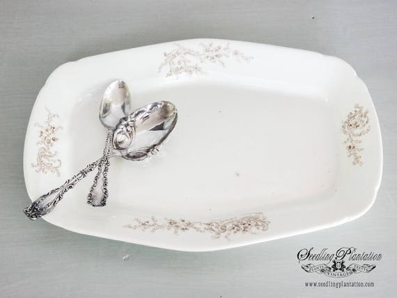 Vintage Ironstone Platter- Brown Floral Design, Whiteware, White Dishes-French Country Shabby Chic Farmhouse