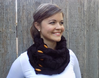 Black Cozy Cable Cowl - Neck Warmer - Scarf