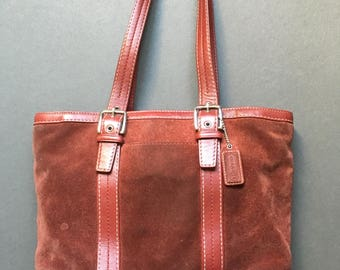 Vintage COACH Genuine Leather/Suede Red Burgundy Shoulder Bag