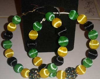 Love and Hip Hop and Basketball wives inspired 70mm hoop with yellow black and green silk beads