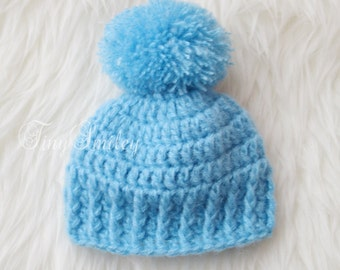 Blue Baby Boy Hat, Pompom Crochet Boy Hat, Blue Newborn Pompom Hat, Pom Pom Hat, Blue Newborn Hat, Infant Hats, Hospital Hats, Baby Boy Gift