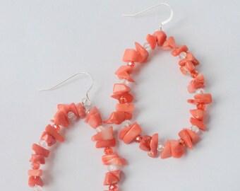 Boho Earrings, Coral Earrings, Hoop Earrings, Coral Jewelry, Boho Jewelry, Red Earrings, Christmas Gift, Gift for Her, Stocking Stuffer