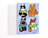 Father's Day card from the cat - real men love cats - illustrated greetings card - card for cat man - crazy cat man - cat lover's cards