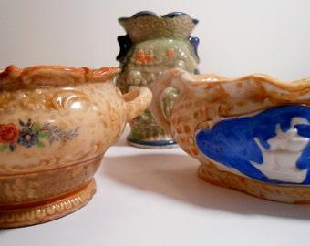 Vintage Majolica Japan Art Pottery Maruhon Plus - Set of 3