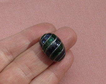 Retro Green & Navy Blue Enameled Domed Shaped Metal Ring