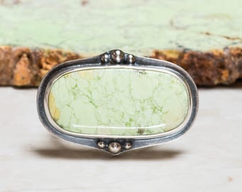 Chrysoprase Ring - 7.0, Sterling Silver, Oxidized