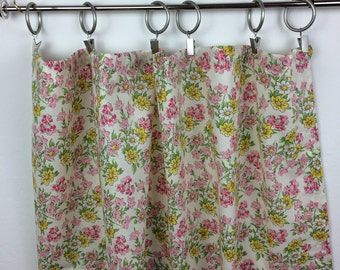 2 Cafe Curtains-Vintage Fabric Cafe Curtains-Floral Cafe Curtains- Pink & Yellow Cafe Curtains-Pair of Cafe Curtains