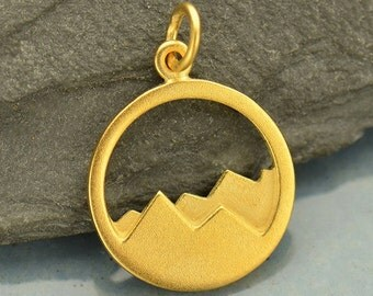 Openwork Mountains with 24K Gold Plate on Sterling Silver -Ranch-Mountains