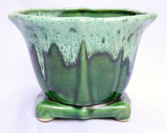 Vintage Green Pottery Drip Glaze Footed Planter/ Vase/ Centerpiece/ Home Decor