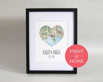 Personalised Couple Map Heart Design 3 Locations - Print at Home - Digital File