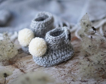 Crochet Newborn Home Shoes, Wool Leg Warmers With White Pom Poms In Soft Grey