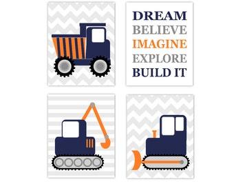Boy Nursery Wall Art Construction Trucks Navy Blue Orange Bulldozer Tractor Chevron Stripes Toddler Boy Bedroom Dream Build Print