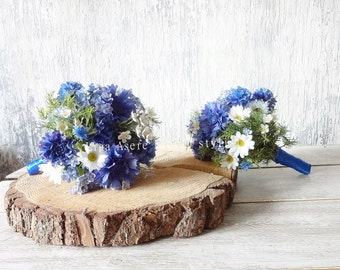 Cornflower wedding wild bridesmaids bouquets blue Meadow flowers Daisies, Astrantia, Waxflowers, Wild flowers Rosemary Summer wedding