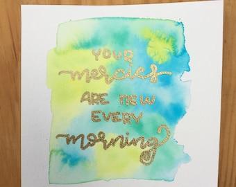 "Embossed Metallic Watercolor // 6"" x 6"" // Morning Mercies"