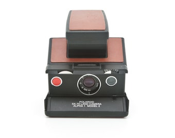 Polaroid SX70 Alpha 1 Model 2 SLR Instant Camera - New Brown Leather Covering - Film Tested and Guaranteed Working