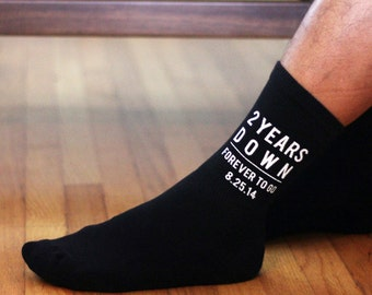 2nd Wedding Anniversary Socks 2 Years Down Forever to Go,  Choose from Designs Personalized With Wedding Date or Initials