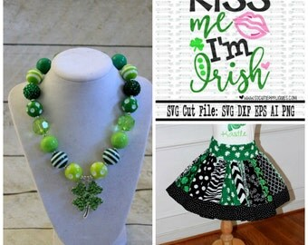 Girls St Patrick's Day outfit Shamrock Saint Patricks Day skirt set with matching HTV shirt in black pink green st paddys day clothing baby