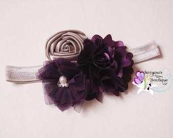 Eggplant Purple Plum Silver Satin Tulle Flower Rose Rhinestone Pearl Headband, Baby Toddler Girl Woman, Flower Girl, Wedding - SB-122