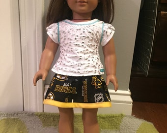 "Black Bruins skirt for 18"" doll (american girl doll)"