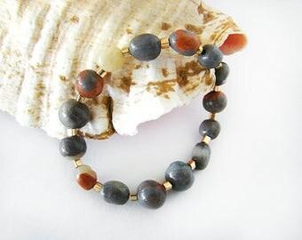 Gray Beaded Bracelet, Clay Bracelet, Stretch Bracelet, Adjustable Bracelet, Handmade Bracelet, Clay Jewelry,