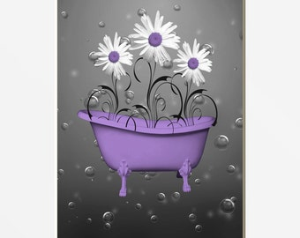 Purple Gray Daisy Flowers Bubbles Bathroom Powder Room Purple Home Wall Art Matted Picture