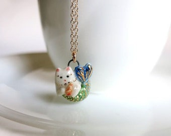Mermaid Cat Necklace Purrmaid Ceramic Charm Cat Cosplay Cat Lady Tiny Mermaid Necklace Fish Cat Lover Gift Gold Filled Cat in Costume