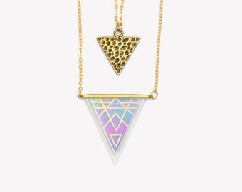 SALE - NAVAJO ARROW layer necklace 18k Gold-Filled | Layering triangles holographic necklaces | Double chain hologram pendant | Iridescent