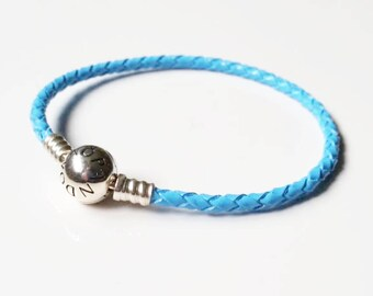 Pandora Moments sterling silver SKY BLUE braided leather
