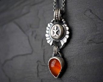 Carnelian Teardrop Pendant , Sterling Bindi Shield Necklace , Medieval Tribal Jewelry