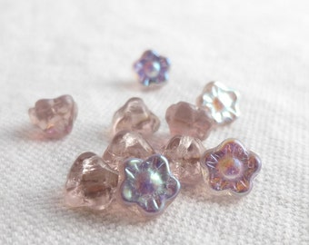 """Tiny Flower Buttons, Pale Pink Buttons, Sewing Buttons Pink, Small Glass Buttons, Vintage Findings  10pce  7mm or 1/4"""""""