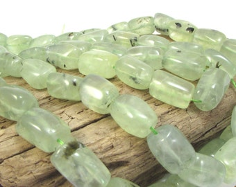 Natural Prehnite Beads, 15x10mm-20x12mm Tumbled Square Tube Beads, 15 inch Strand, Beading Supplies, Item 1285gs