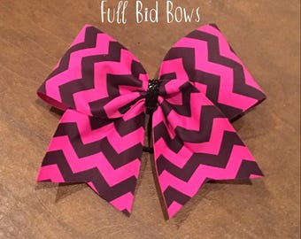 Cheer Bow - Hot Pink and Black Chevron