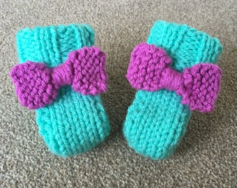 Bright Chunky Hand Knit Baby Booties - Size 0-6 Months