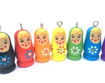 BLUE Wood Matryoshka - Stacking Doll-  11 pieces