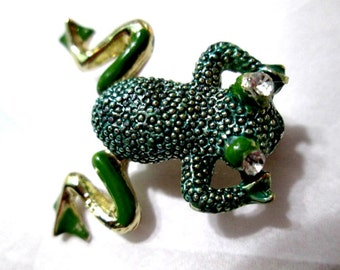 Textured Green Figural Cute Bullfrog Pin Frog Movable Articulated Feet Rhinestone Bulging Eyes