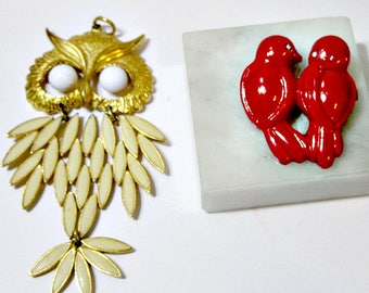 Owl Pendant Celluloid Red Pin Love Birds Vintage Lot of Two